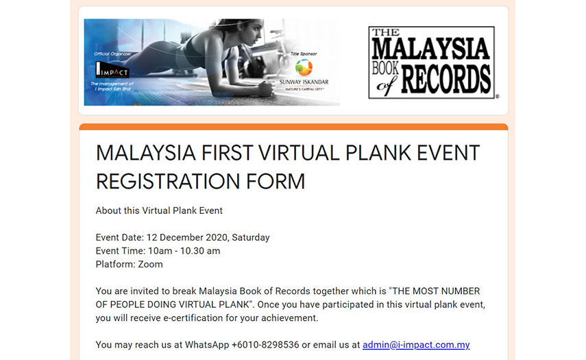 Malaysia First Virtual Plank Event